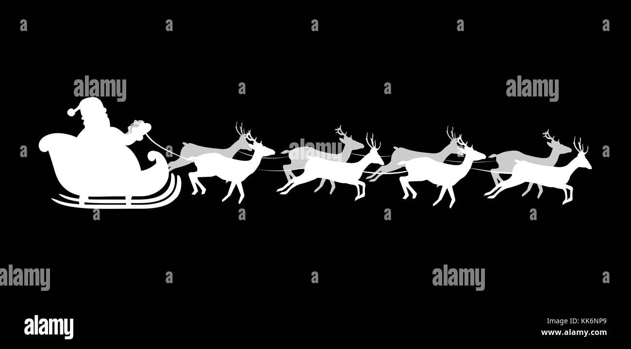 Babbo Natale Con Le Renne.Silhouette Bianca Di Volare Babbo Natale Con Le Renne Su Sfondo Nero