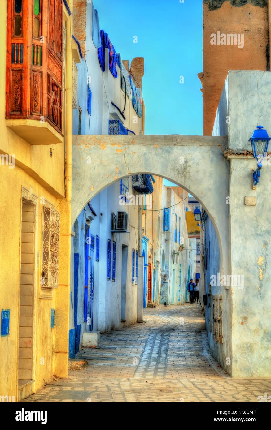 Case tradizionali nella medina di kairouan. un sito patrimonio mondiale dell'unesco in Tunisia Immagini Stock