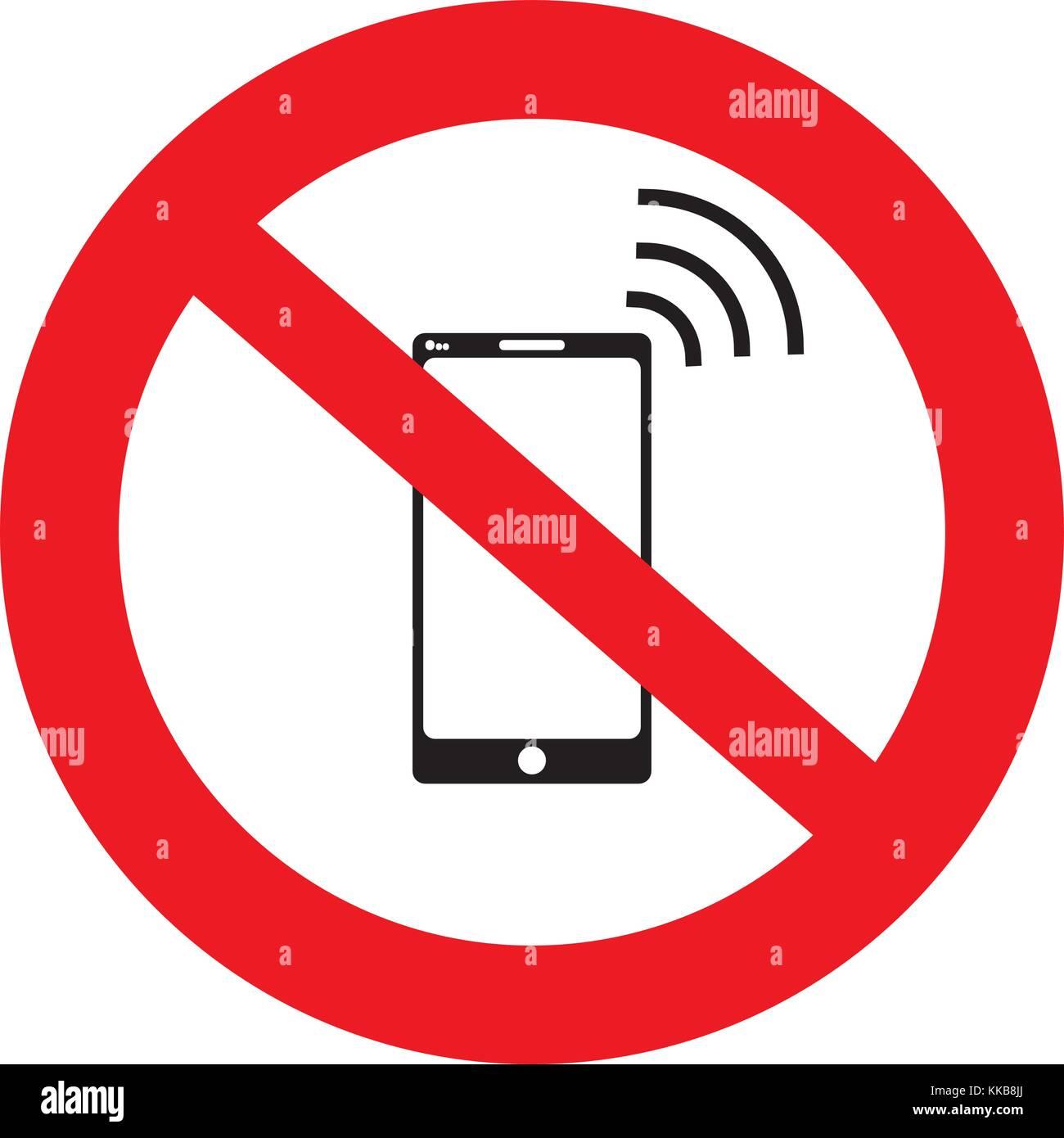 Nessuna Cella N Telefono Cellulare Sign Banner Nessun Segno Di