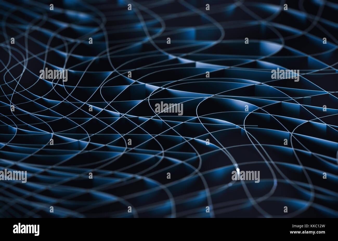 3D'illustrazione. Sfondo astratto, collegamento e linee di tecnologia. Immagini Stock