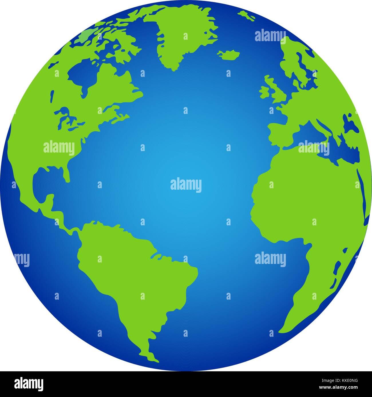 Il vettore del pianeta terra e la relativa icona. Immagini Stock