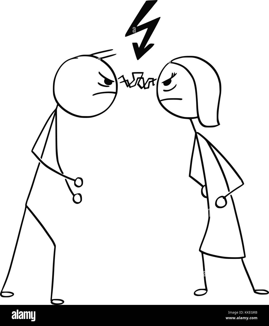 Cartoon Stick Uomo Disegno Illustrativo Di Un Uomo E Di Una Donna A