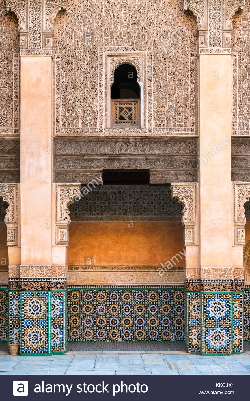 Il Marocco, Marrakech-Safi (Marrakesh-Tensift-El Haouz) regione, Marrakech. Ben Youssef madrasa, XVI secolo collegio Immagini Stock