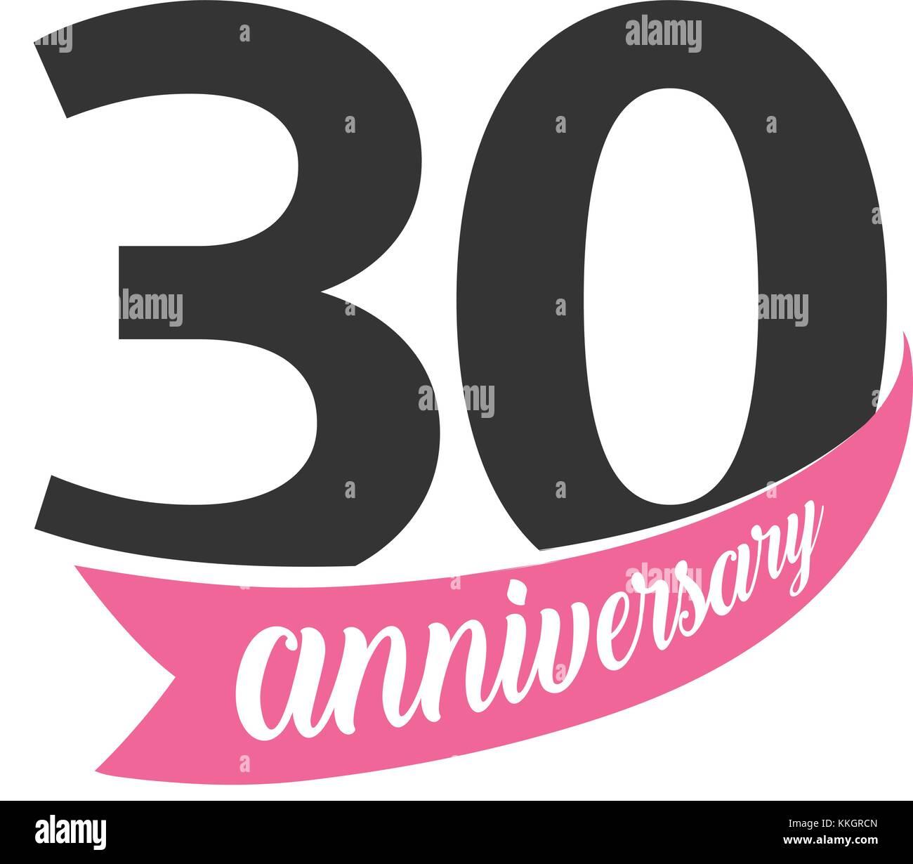 Trentesimo Anniversario Di Matrimonio.Trentesimo Anniversario Logo Vettoriale Numero 30 Illustrazione