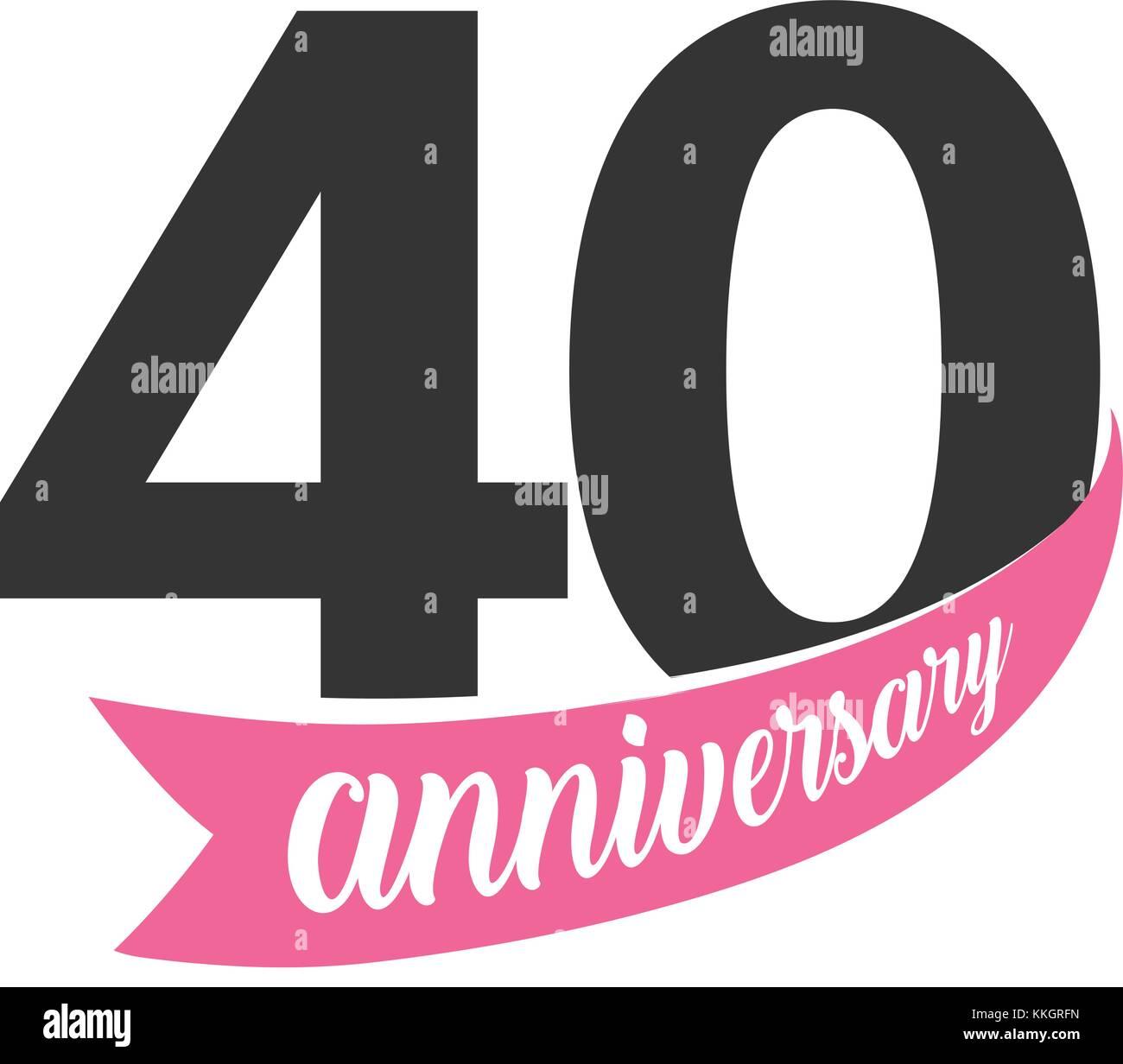 Quarantesimo Anniversario Matrimonio.Quarantesimo Anniversario Logo Vettoriale Numero 40