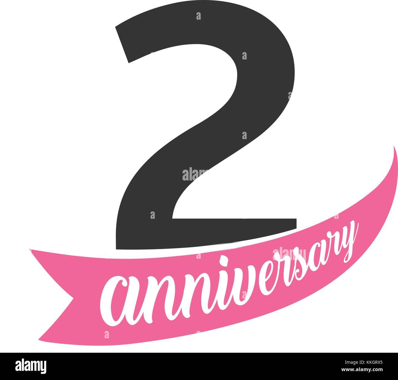 Secondo Anniversario Di Matrimonio.Il Secondo Anniversario Del Logo Del Vettore Numero 2