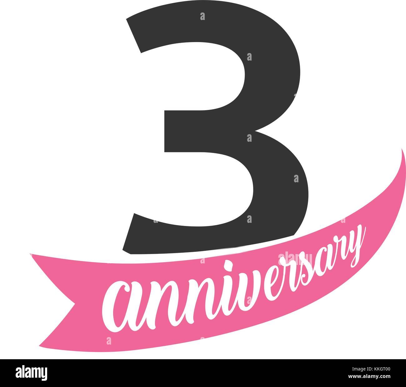 Terzo Anniversario Di Matrimonio.Terzo Anniversario Logo Vettoriale Numero 3 Illustrazione Per