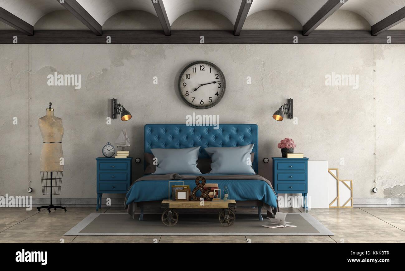 Camera da letto in stile industriale blu con letto doppio e oggetti ...