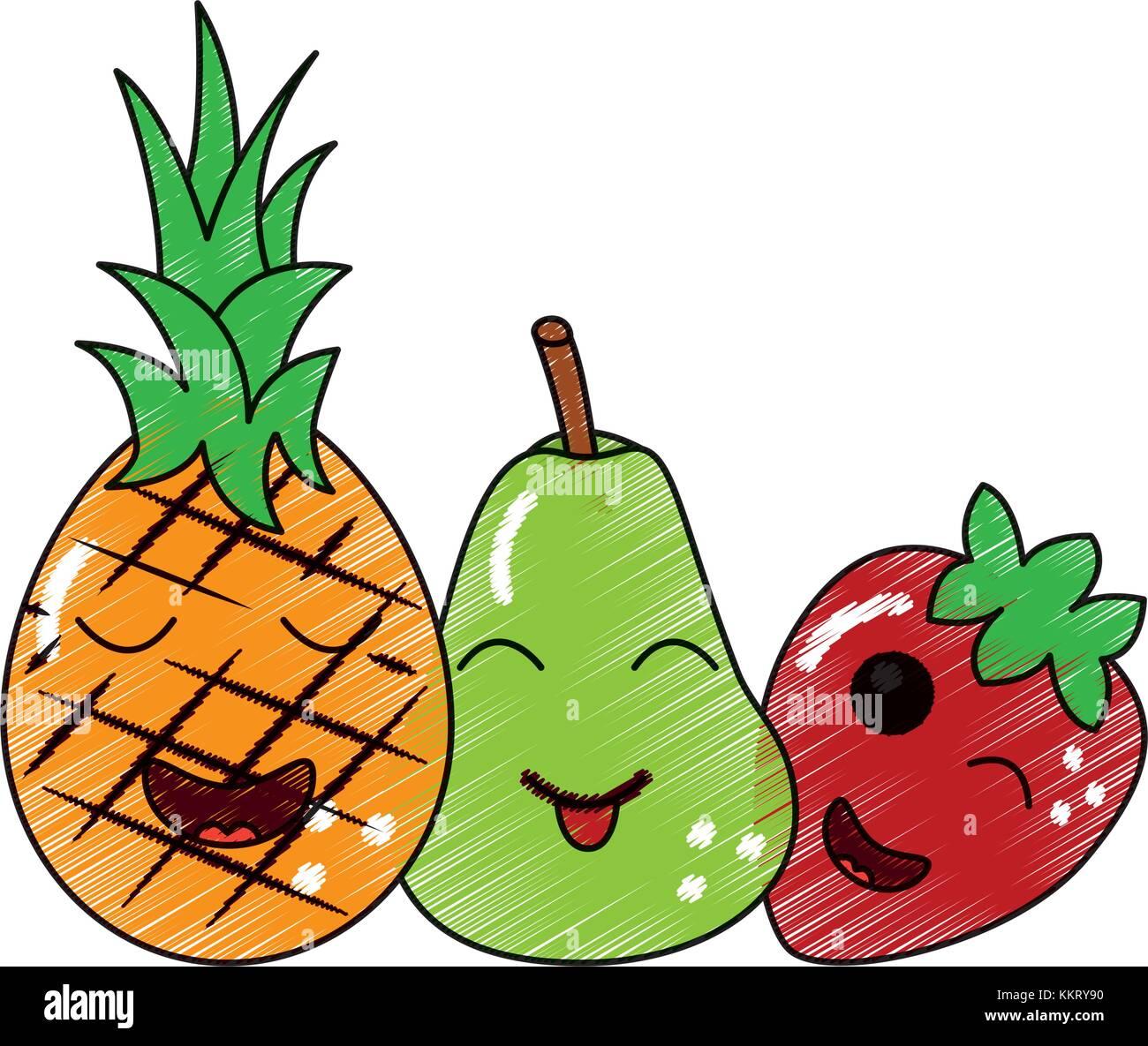 Kawaii Frutti Cartoon Pera Di Ananas E Fragola Illustrazione