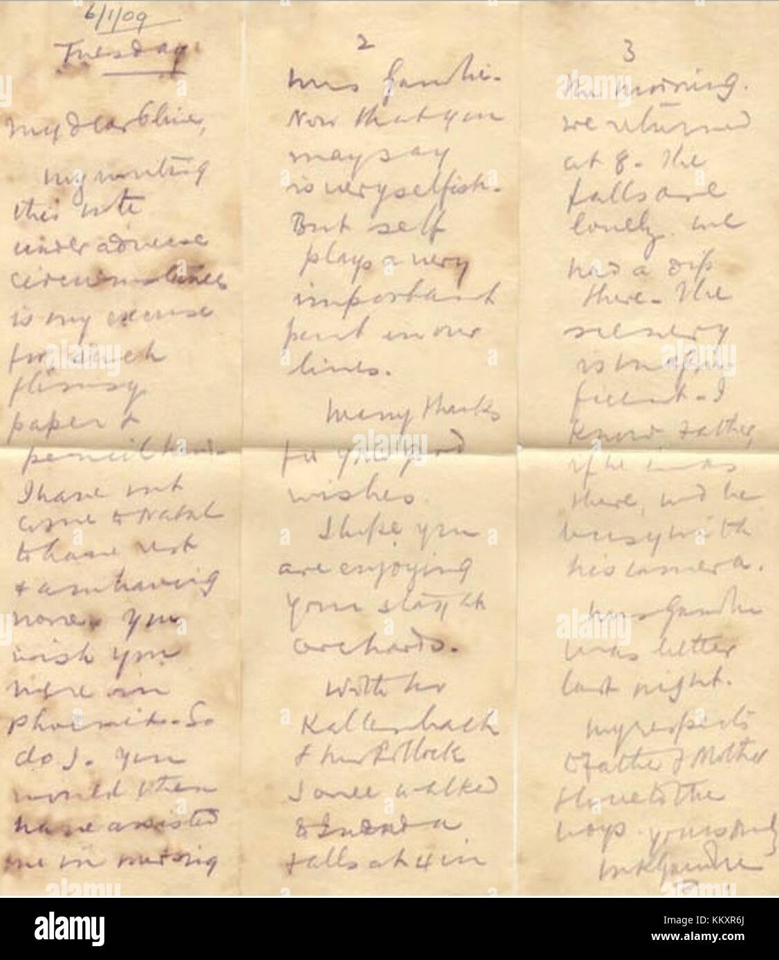 Mkgandhi lettera con la matita indelebile il 6 gennaio 1909 in Sud Africa Immagini Stock
