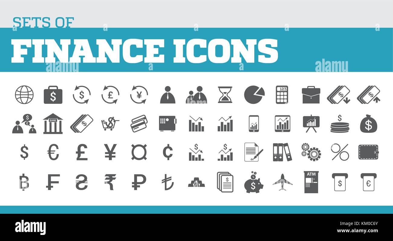 Illustrazione delle icone per la finanza e per finanziare metafore. icone universali per la finanza Immagini Stock