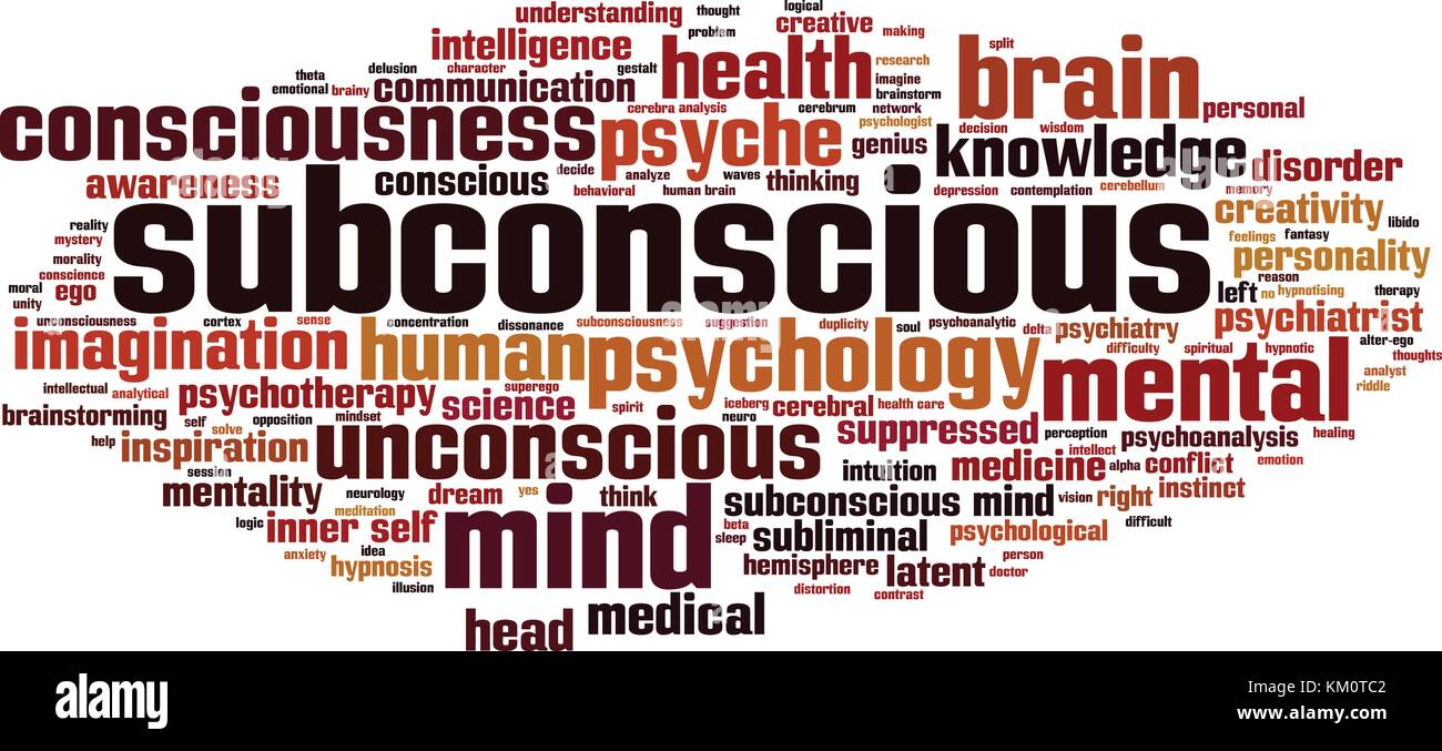 Subconscio parola concetto cloud. illustrazione vettoriale Immagini Stock