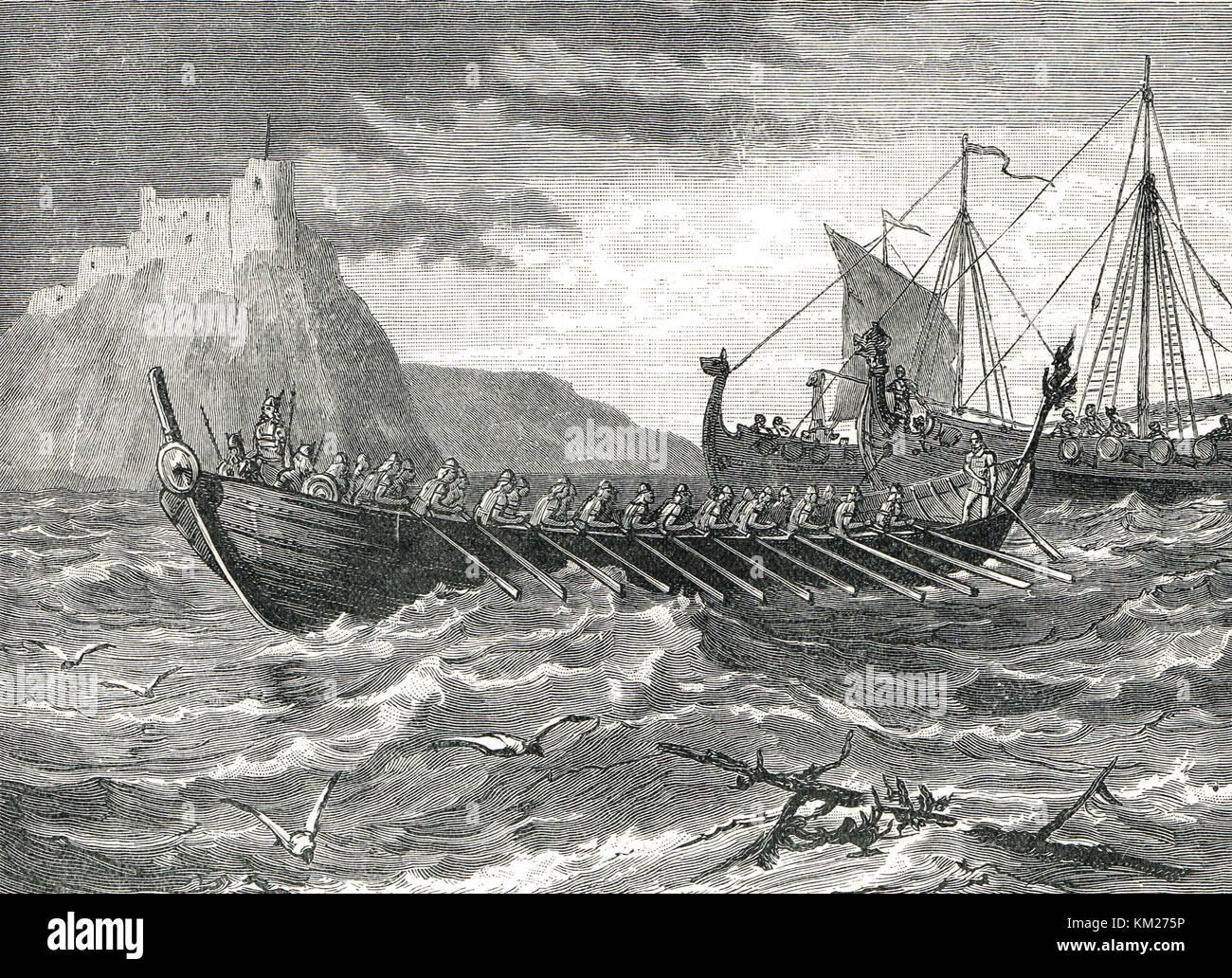 Danese navi vichinghe del IX secolo Immagini Stock