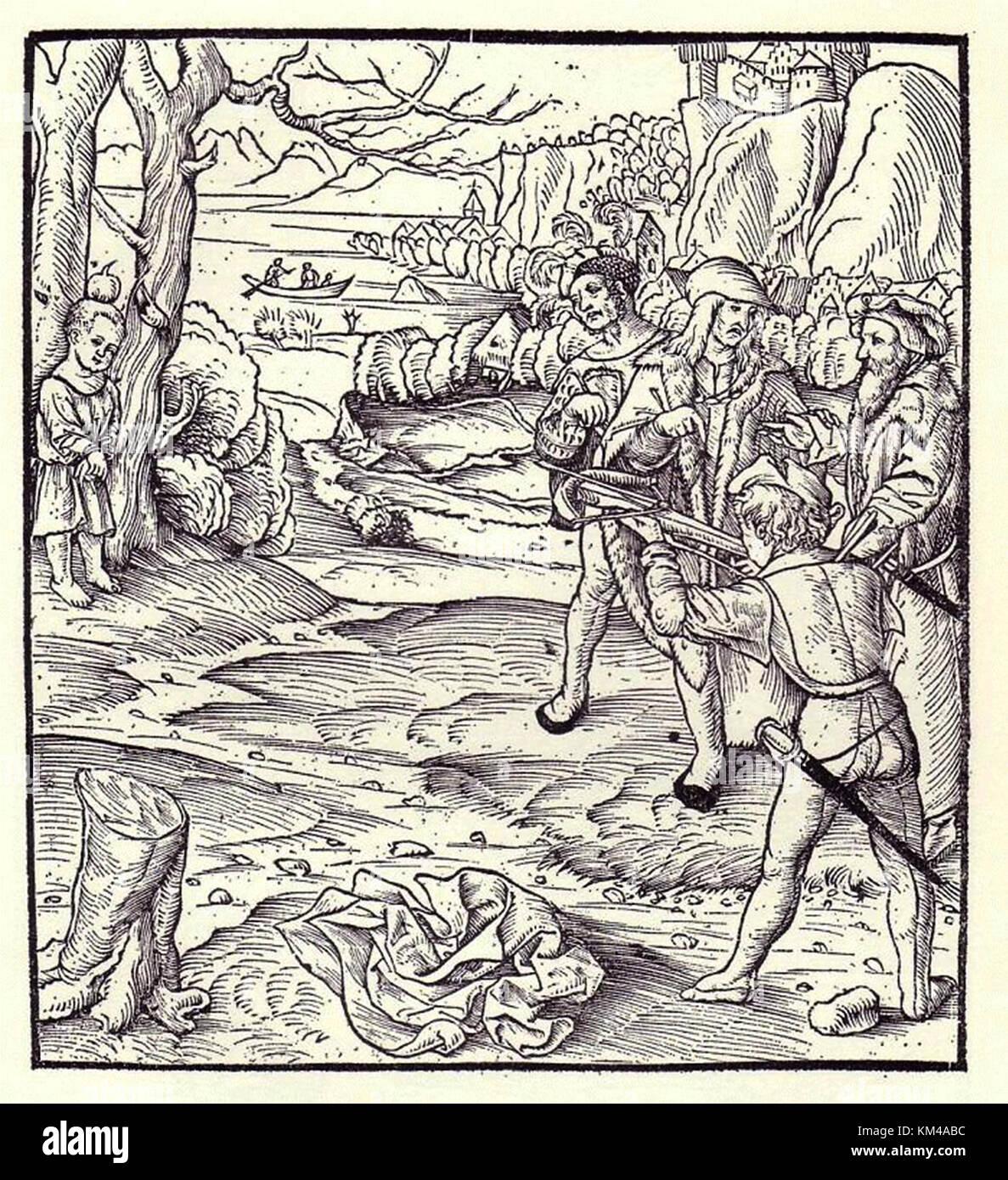 Guglielmo Tell, una rappresentazione della mela scena. Guglielmo Tell è un eroe popolare della Svizzera Immagini Stock