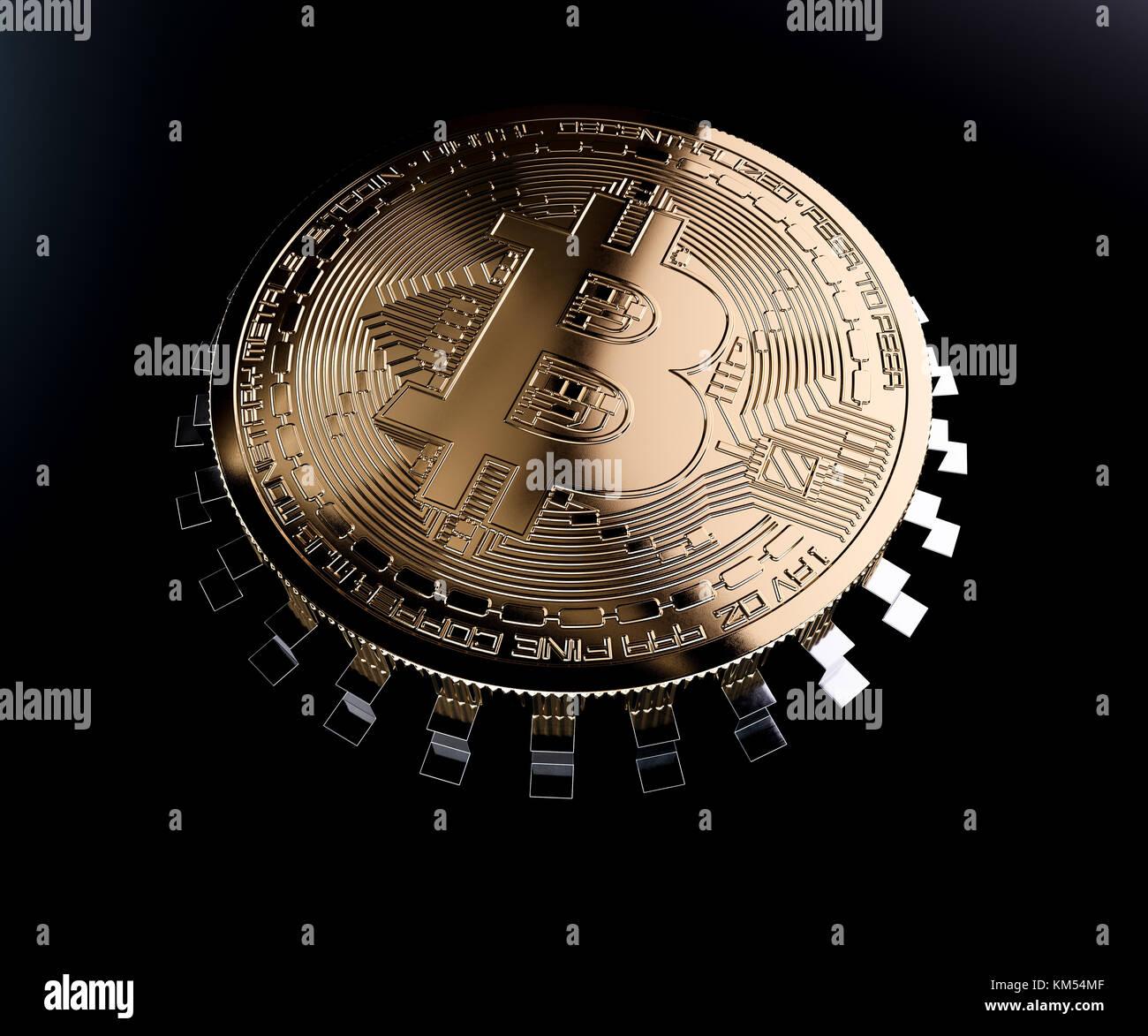 Bitcoin Golden Coin Computer Chip Pc Concetto Isolato Su Sfondo