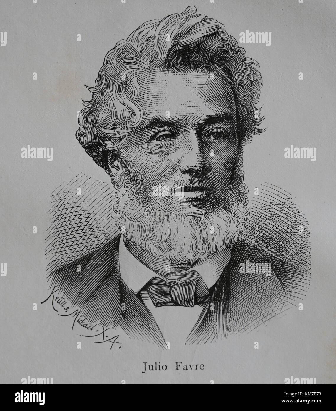 Jules favre (1809-1880). statista francese. leader dei repubblicani moderati. ritratto. incisione, 1883. Immagini Stock