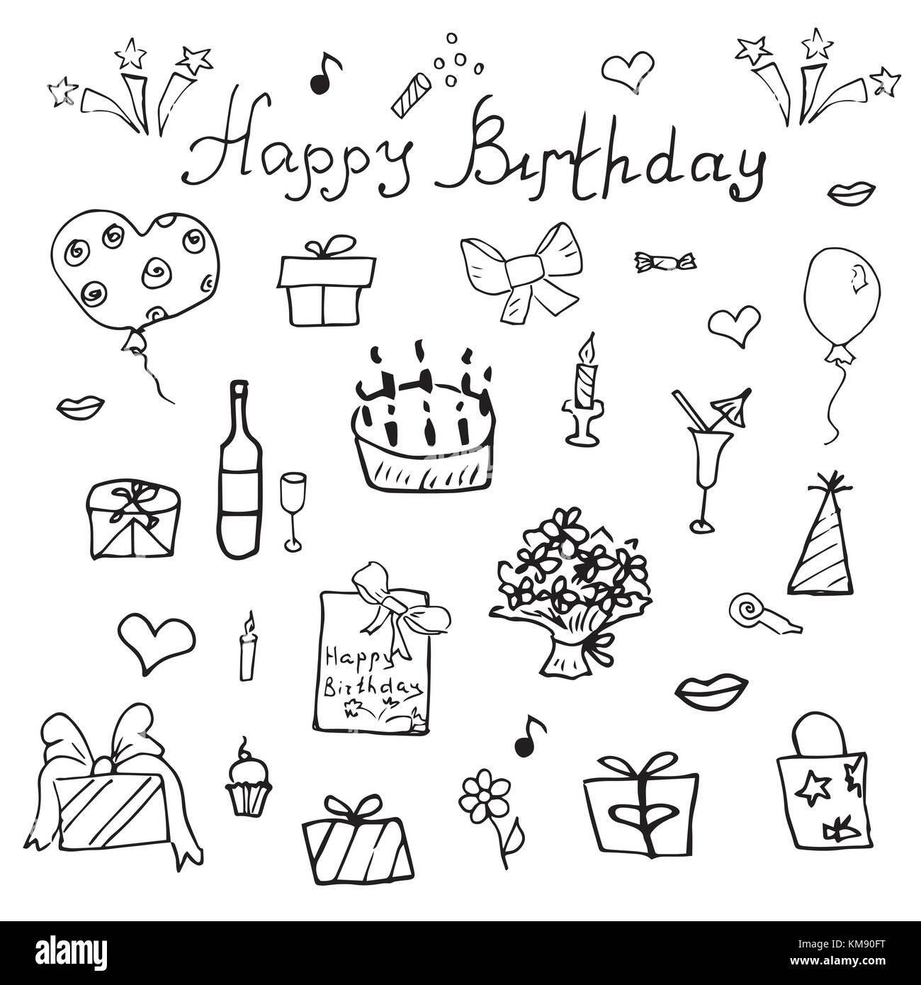 Elementi Di Compleanno Disegnati A Mano Impostato Con Torta Di