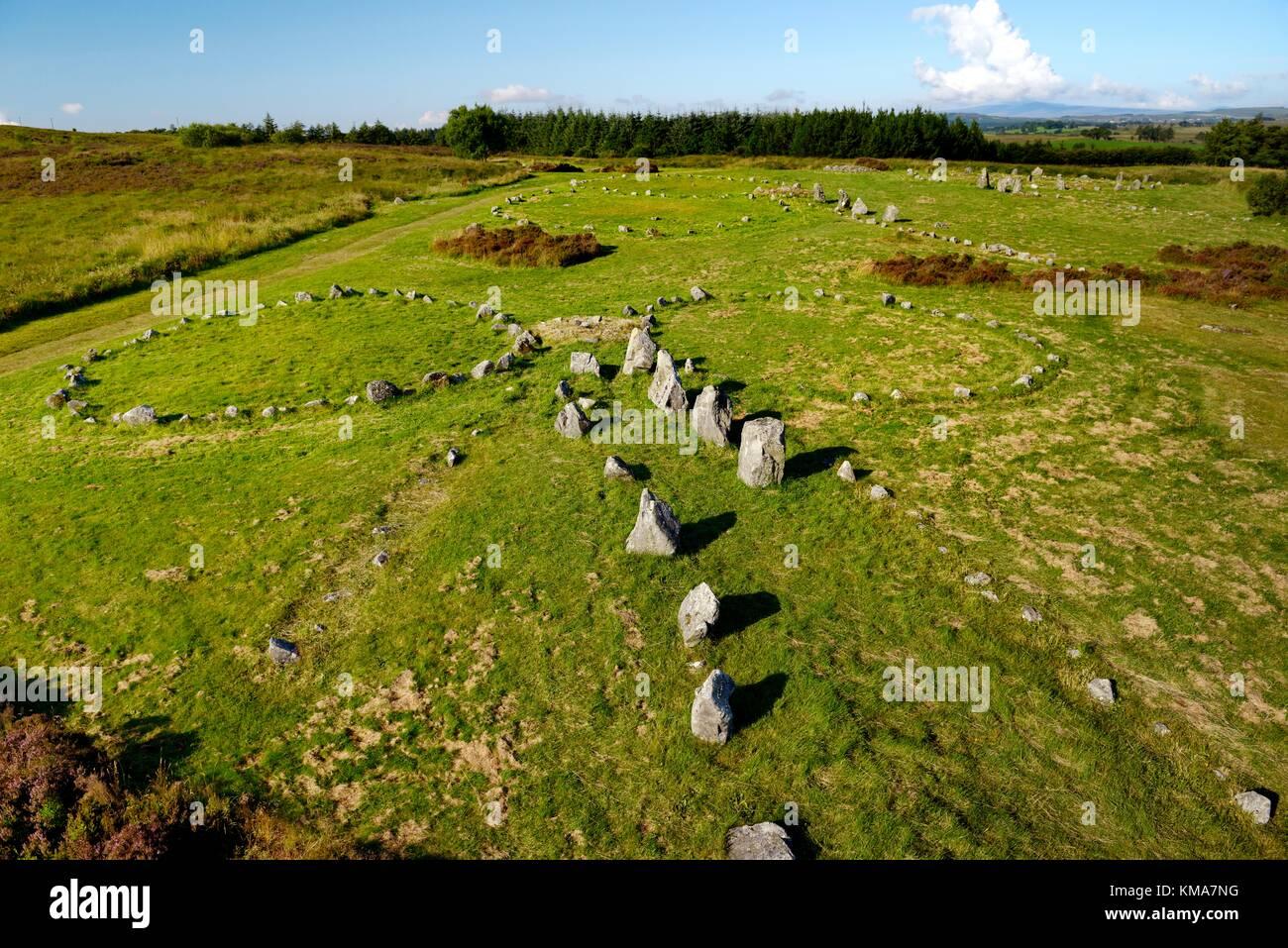 Beaghmore preistorici circoli di pietra cerchio allineamenti di allineamento. Montagne Sperrin, Co. Tyrone, Irlanda Immagini Stock