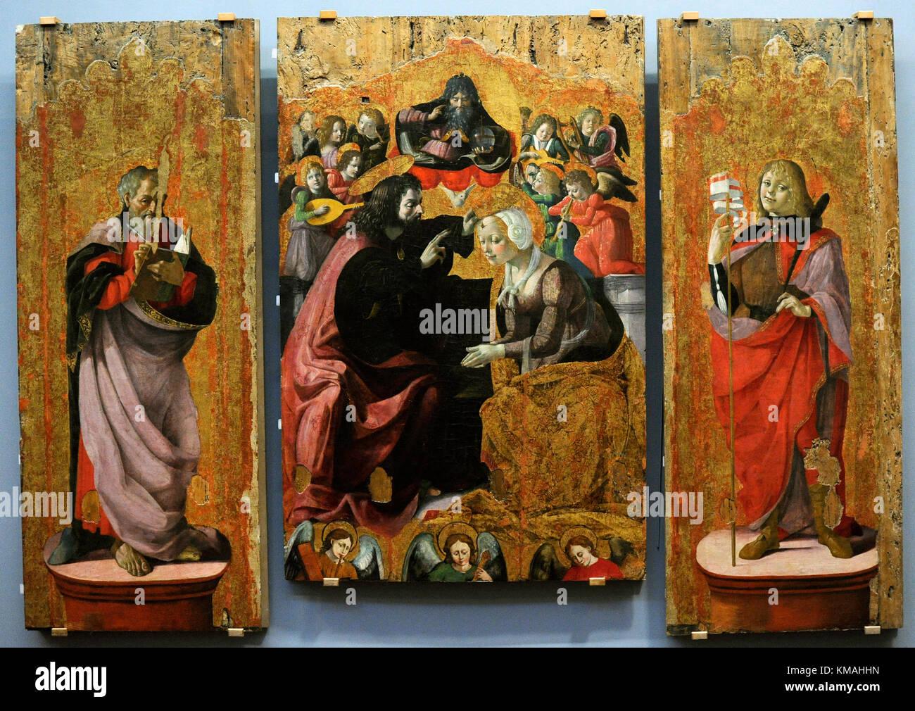 Cristoforo scacco (fine XV secolo e gli inizi del XVI secolo). pittore italiano. Incoronazione della Vergine con Immagini Stock