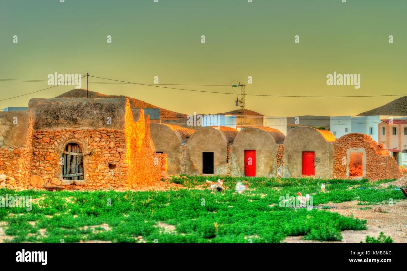 Vista di ksar ouled boubaker in Tunisia Immagini Stock