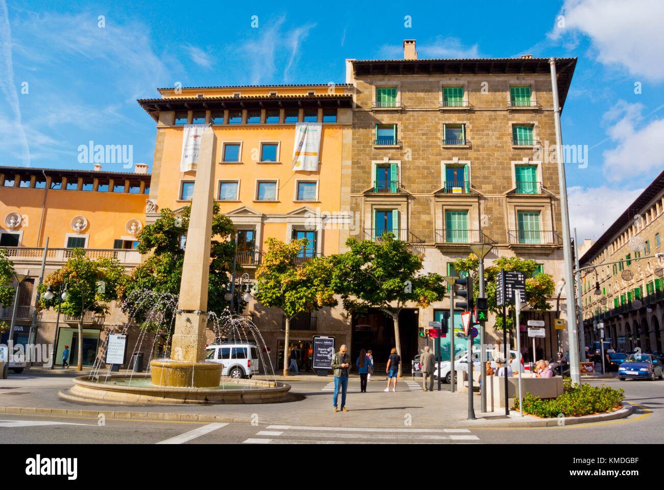 Placa Rei Joan Carles I, con Font de les Tortugues, Palma di Maiorca, isole Baleari, Spagna Immagini Stock