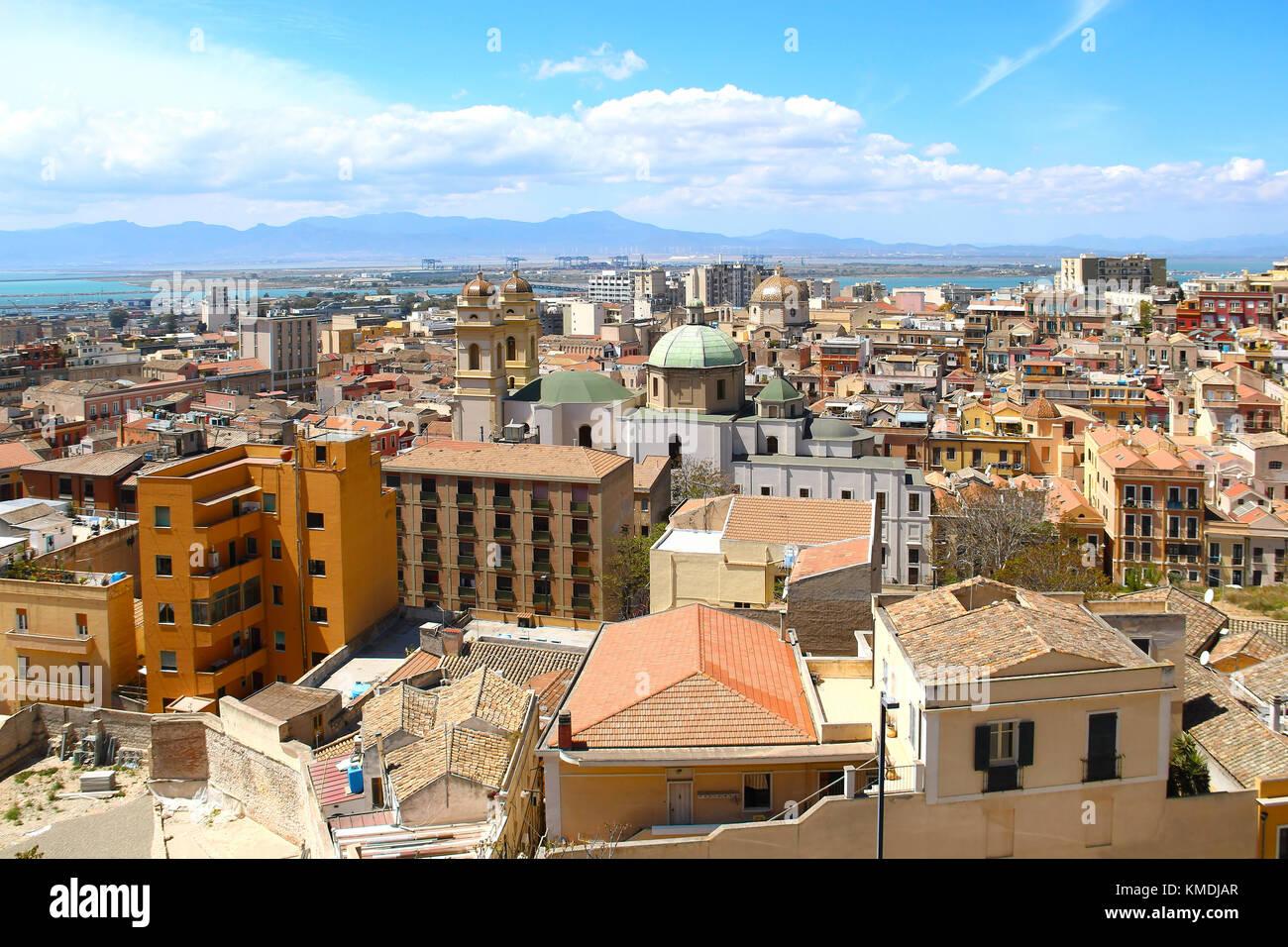 La città di Cagliari, Sardegna, Italia Immagini Stock