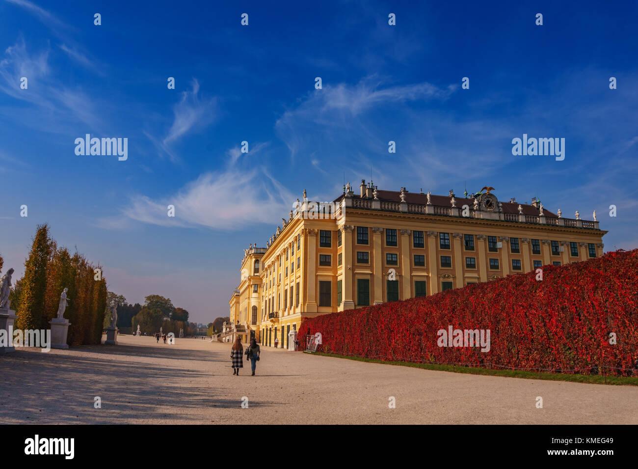 Il famoso Palazzo di Schonbrunn a Vienna in Austria, l'Europa. Immagini Stock