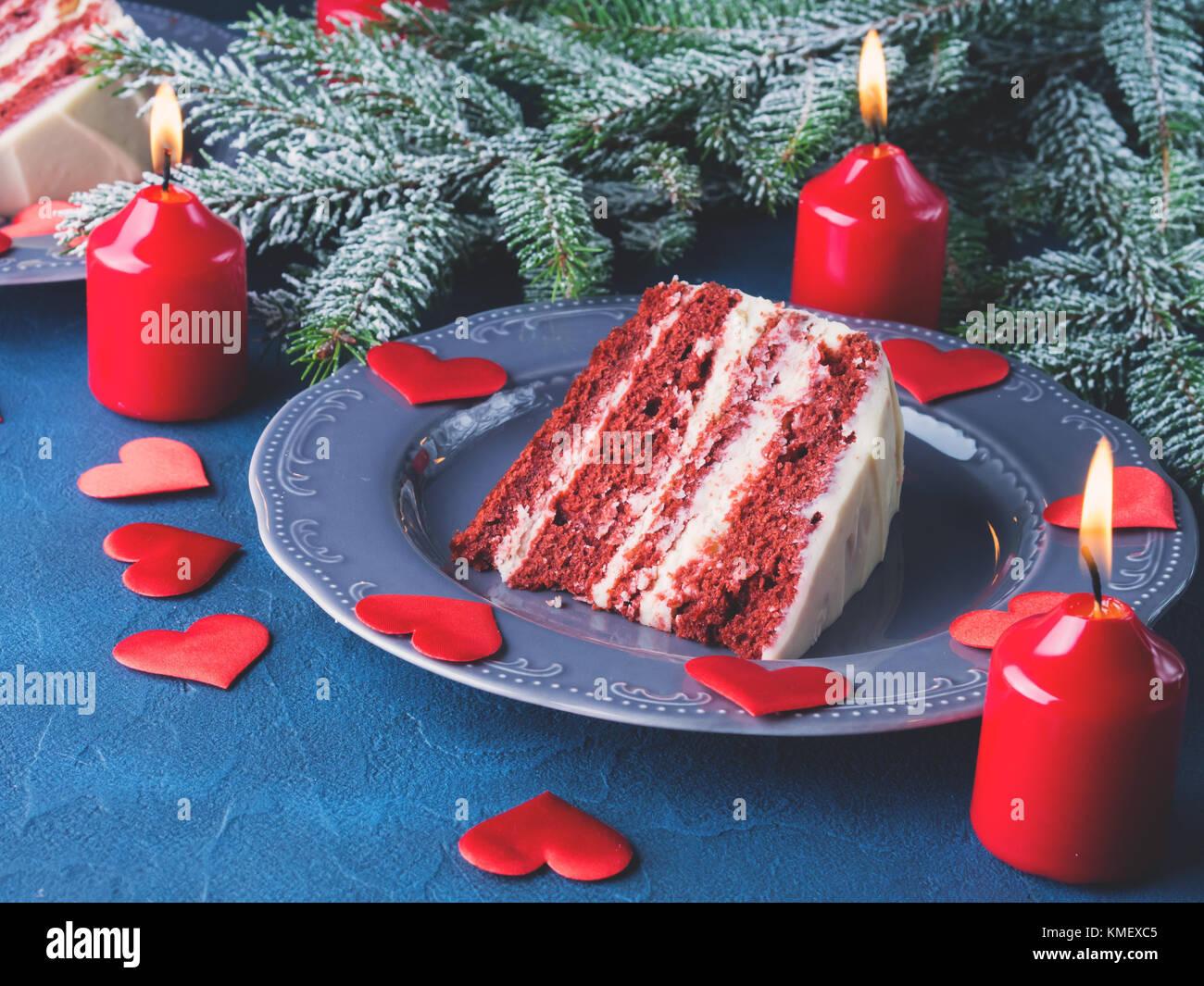 Dolci Per Il Giorno Di Natale.Velluto Rosso Di Fetta Di Torta Per Il Giorno Di San