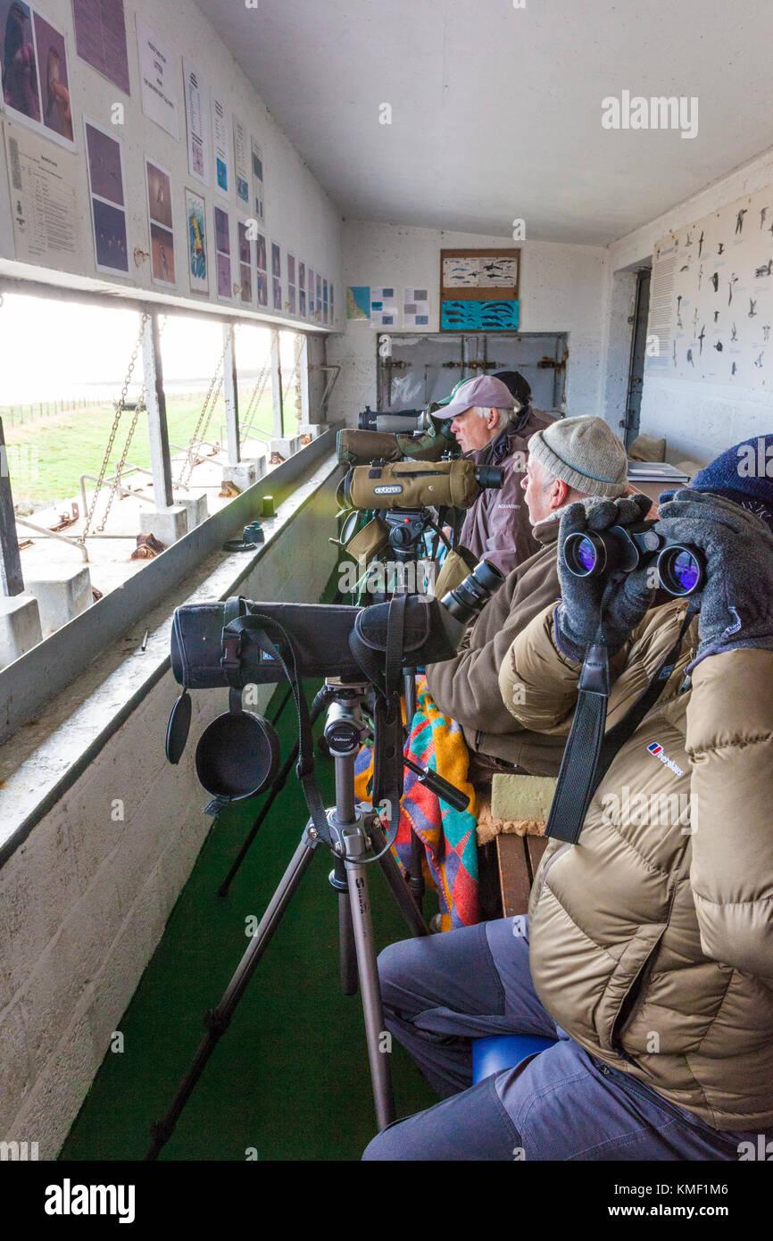 Appassionato di birdwatching in un freddo giorno di novembre presso l'Osservatorio Souter affacciato sul Mare Immagini Stock