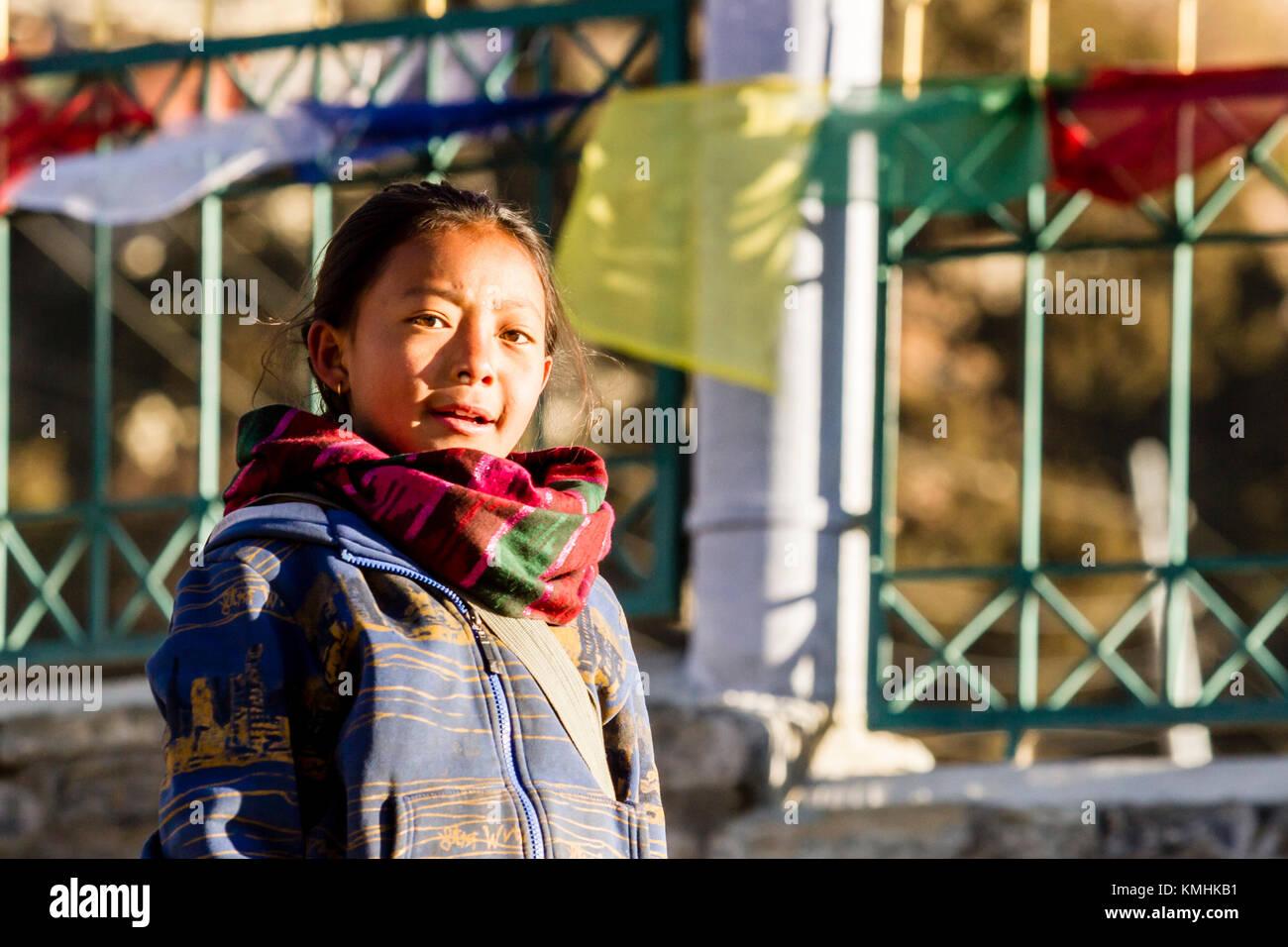 Bambino nepalese. Villaggio di montagna di Braga, Nepal, Himalaya Immagini Stock