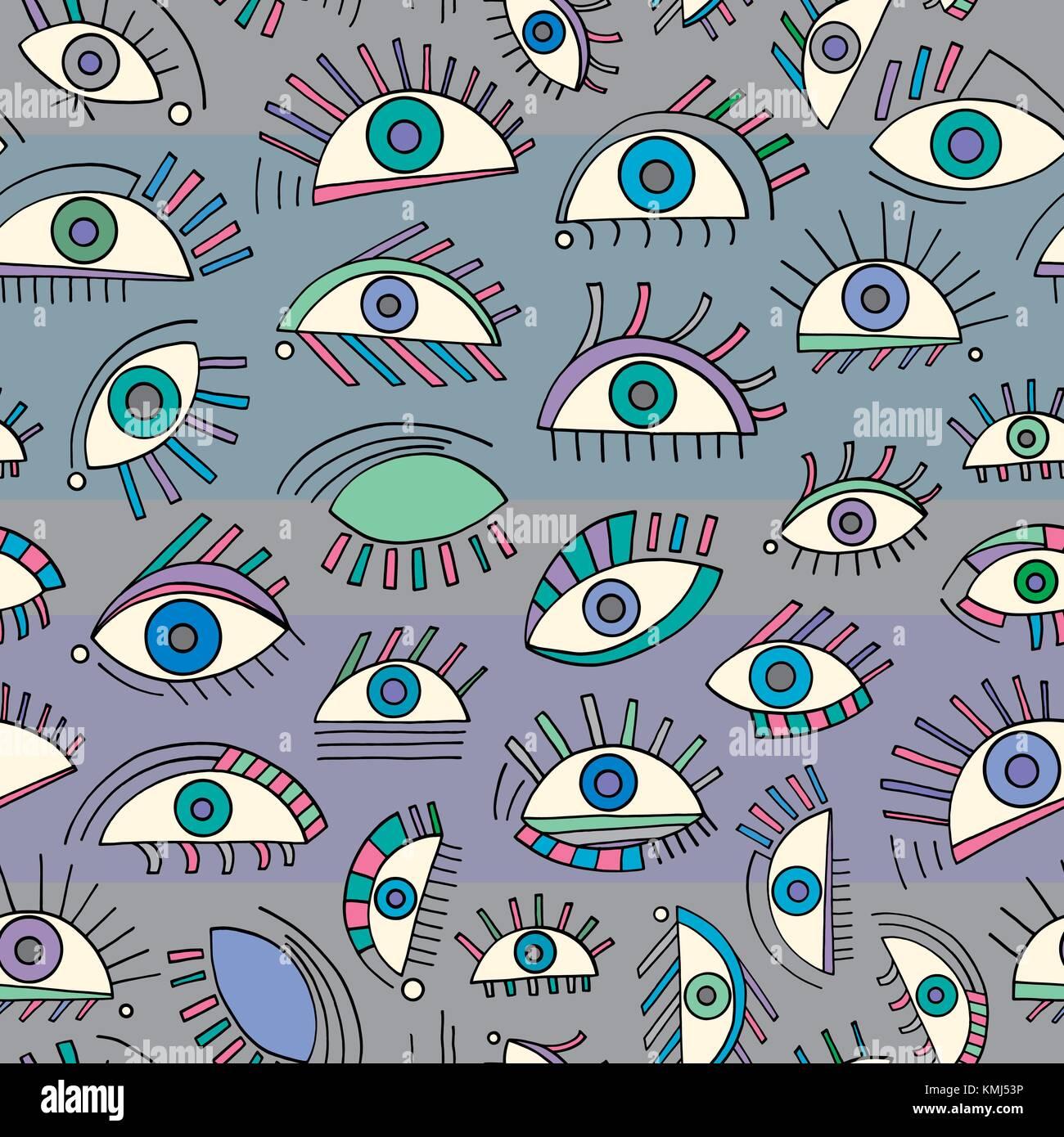 Disegnato a mano occhi astratta. pattern colorati senza cuciture a vista sullo sfondo del vettore. moderno ed elegante Immagini Stock