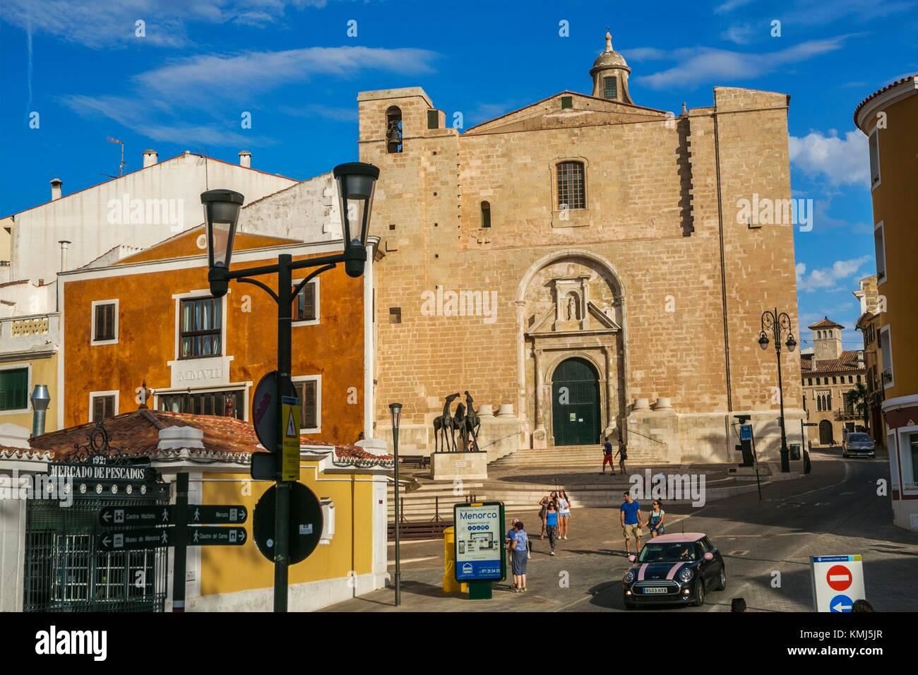 Mare de Deu del Carmen Chiesa. Maó città. Maó comune. Isola di Minorca. Isole Baleari. Spagna Immagini Stock