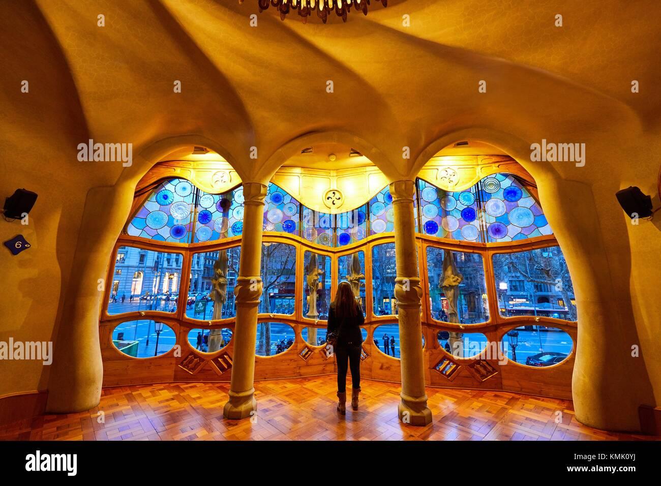Casa Batlló di Antoni Gaudí architetto 1904-1906, Passeig de Gracia, Barcellona, in Catalogna, Spagna Immagini Stock