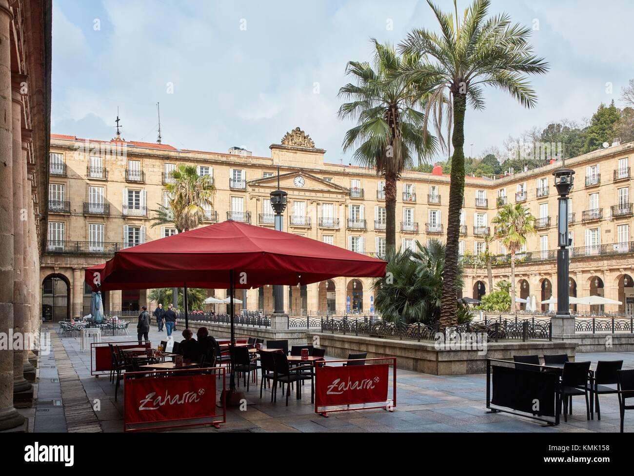Plaza Nueva o Plaza Berria, Casco Viejo, Bilbao, Bizkaia, Paesi Baschi Immagini Stock