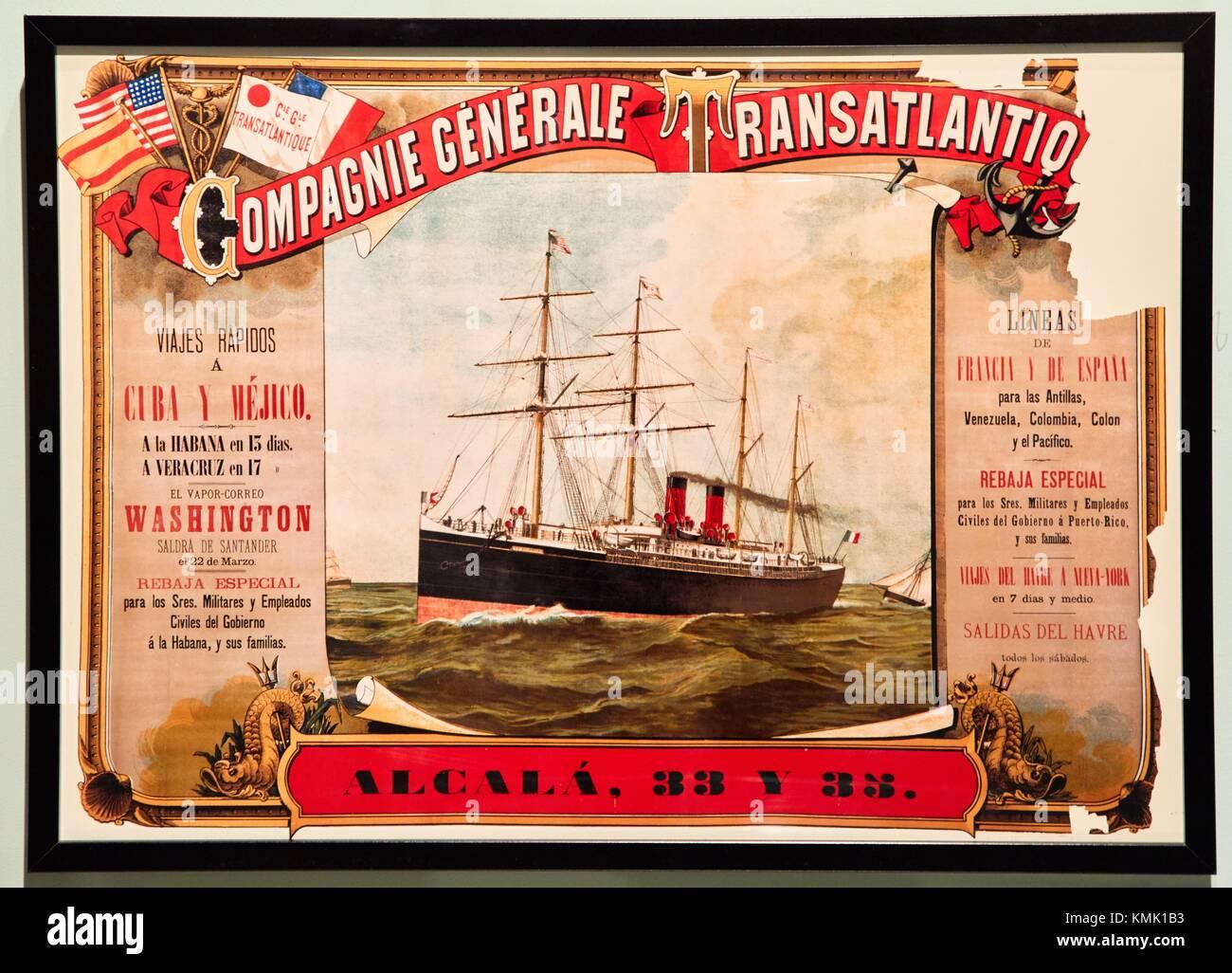 Cartello de la Compagnie Générale Transatlantique, 1891, Biblioteca Nacional de España, Exhibition Immagini Stock