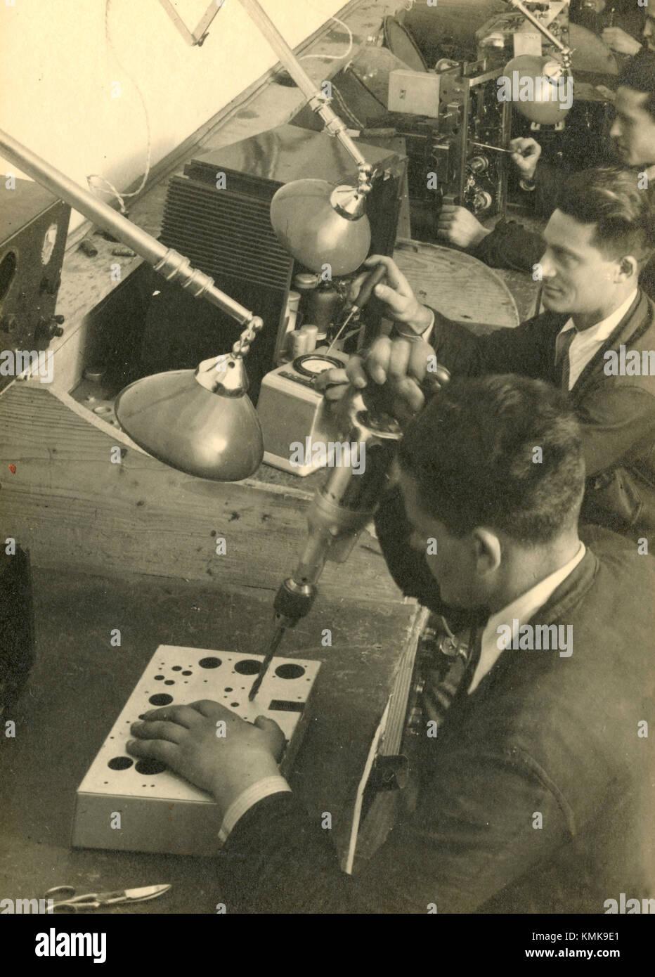 Stazioni di lavoro per tipografia, Italia 1930 Immagini Stock