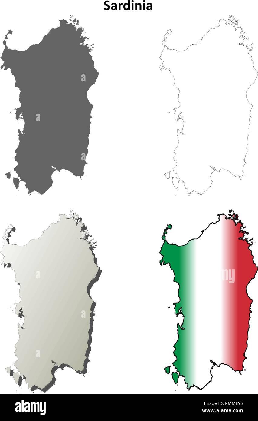 Mappa Km Sardegna.Sardegna Blank Dettagliata Mappa Di Contorno Impostato