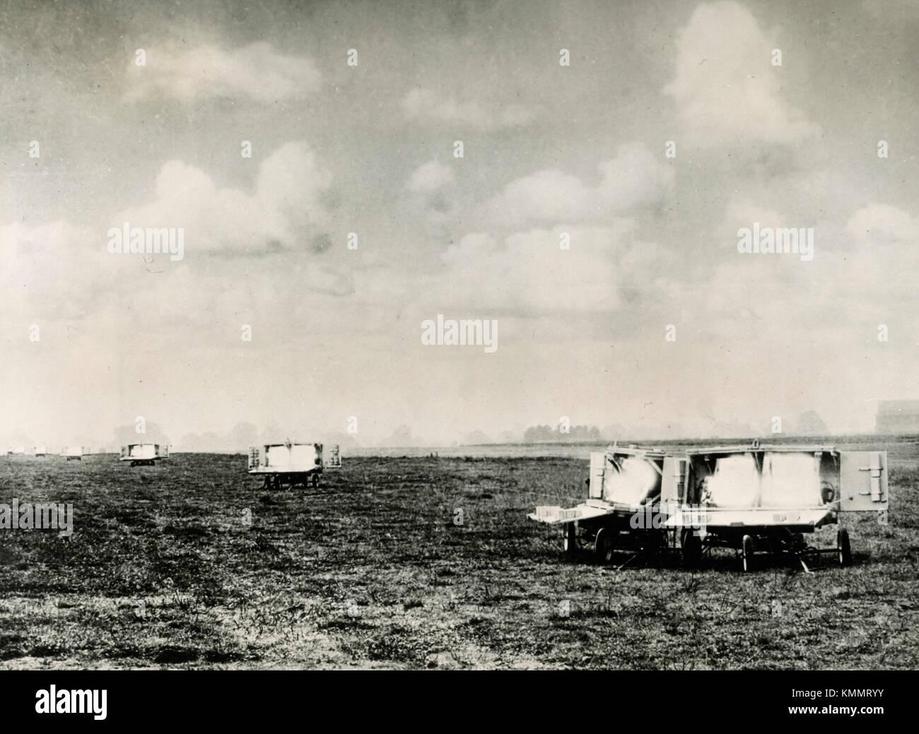 Il sodio flare path sul runaway per voli notturni, 1940s Immagini Stock