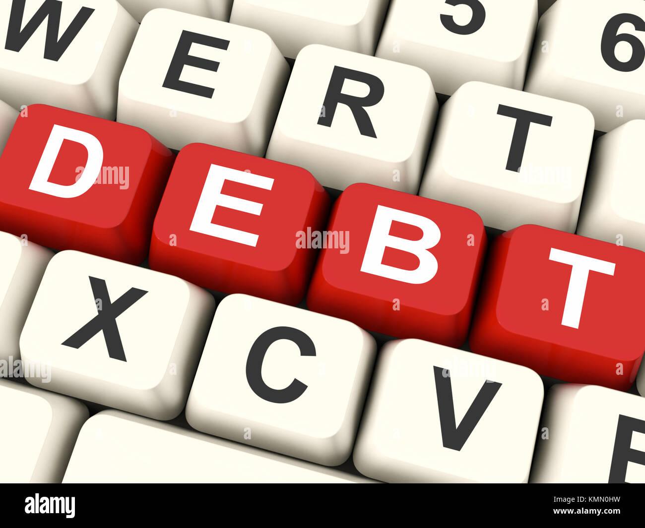 Tasti di debito significato di indebitamento debiti o responsabilità Immagini Stock