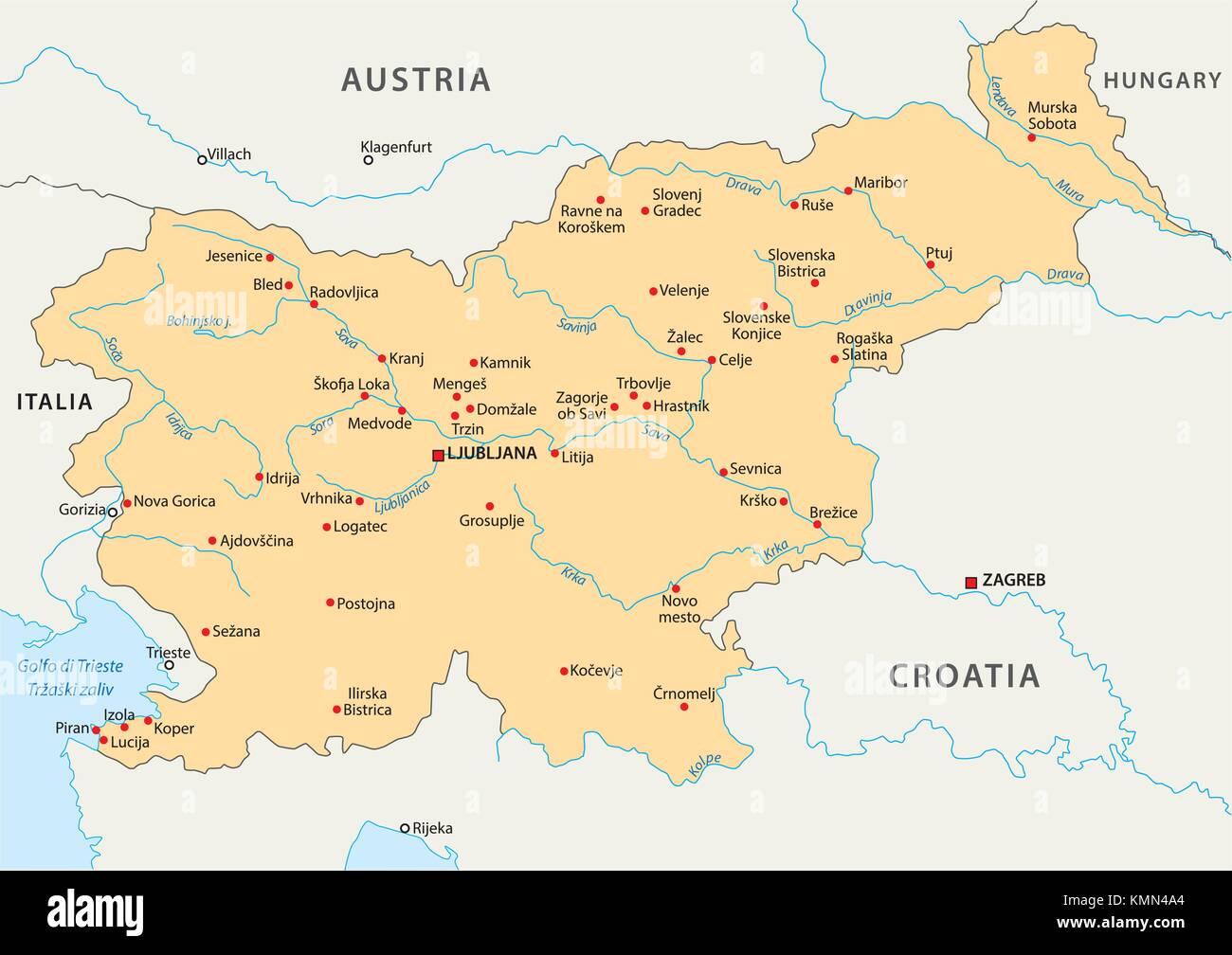 Cartina Slovenia Pdf.La Slovenia Mappa Vettoriale Immagine E Vettoriale Alamy