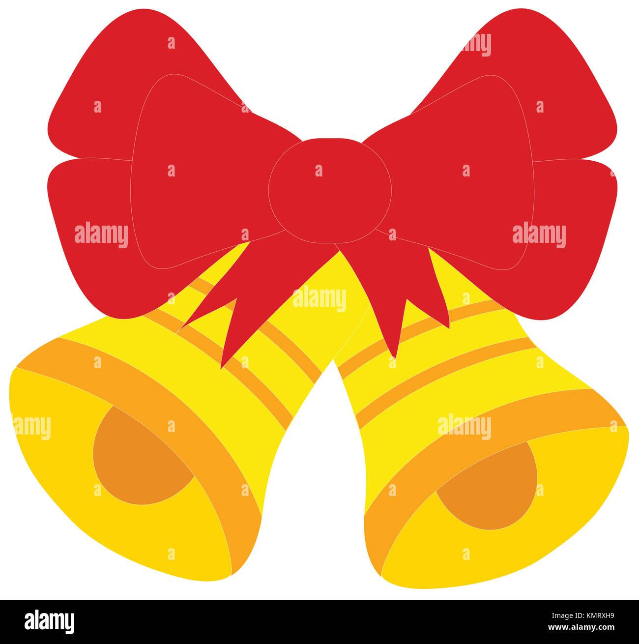 Le campane di Natale con un nastro di grandi dimensioni bow isolati su sfondo bianco. Rosso giallo e arancione. Immagini Stock