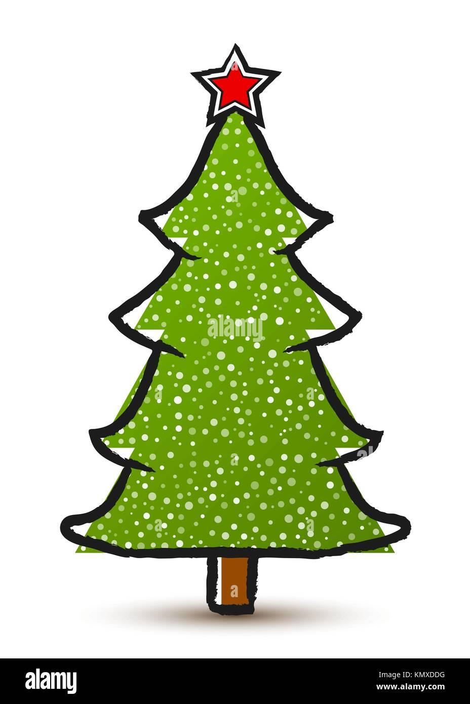 Disegni Alberelli Di Natale.Vettore Di Disegno Astratto Albero Di Natale Con Una Stella