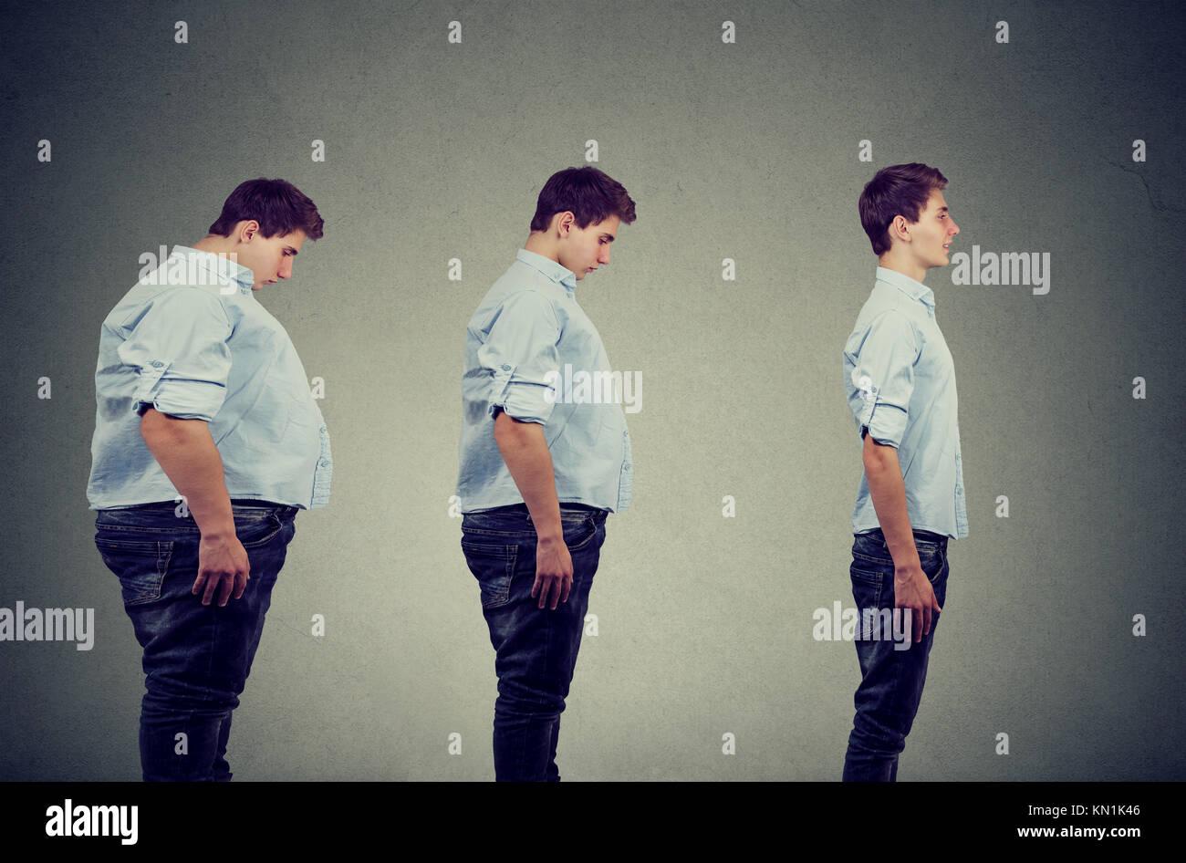 Il profilo laterale di una giovane paffuto uomo la trasformazione in un sottile persona felice Immagini Stock