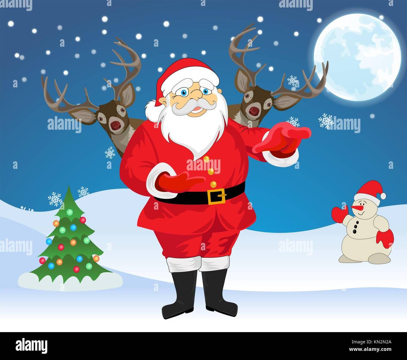 Sfondi Natalizi Renne.Babbo Natale E 2 Renne In Blu E Sfondo Bianco Con Albero Di Natale