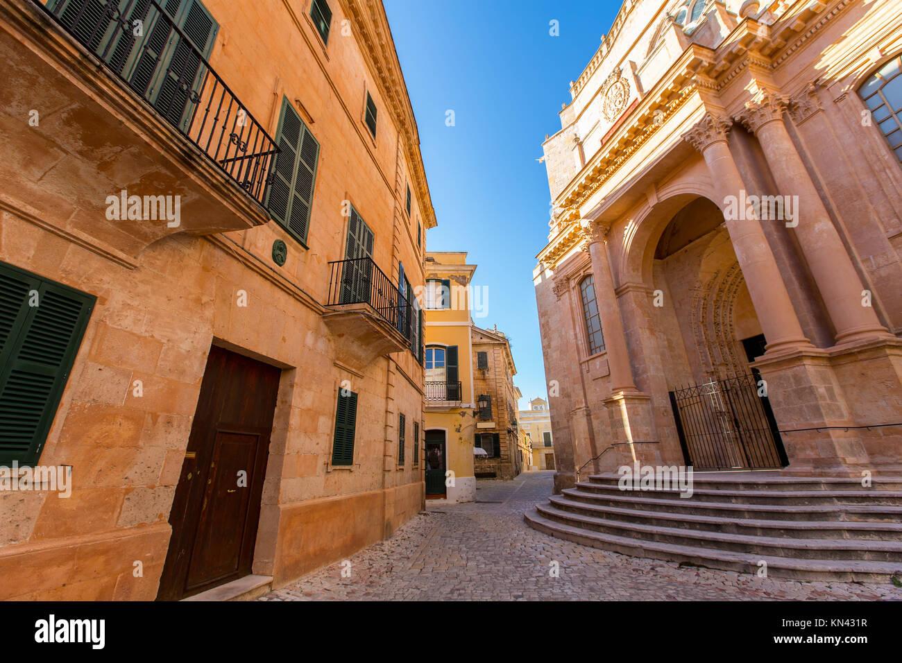 Ciutadella Cattedrale di Menorca di Ciudadela downtown in isole Baleari. Foto Stock