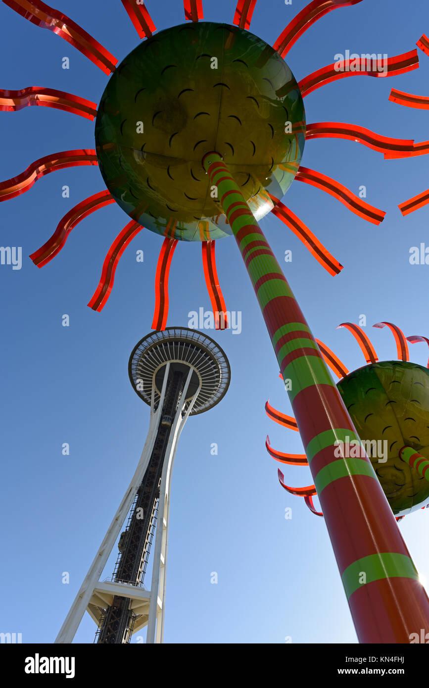 Il Sonic Bloom arte di installazione e il Seattle Space Needle Immagini Stock