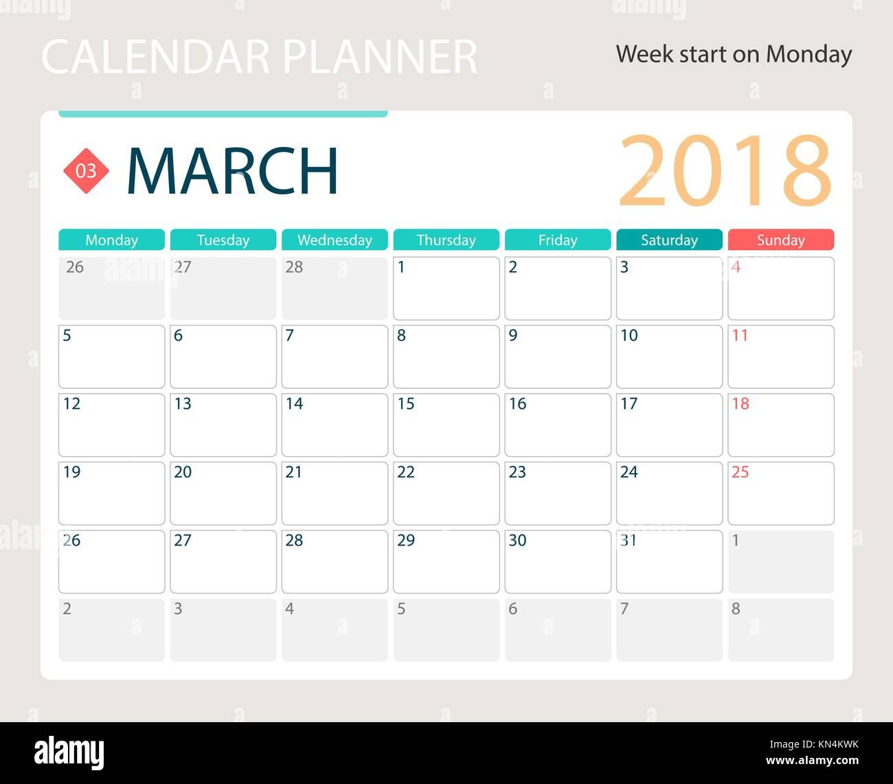 Settimane Calendario.Marzo 2018 Illustrazione Vettoriale O Di Calendario Desk