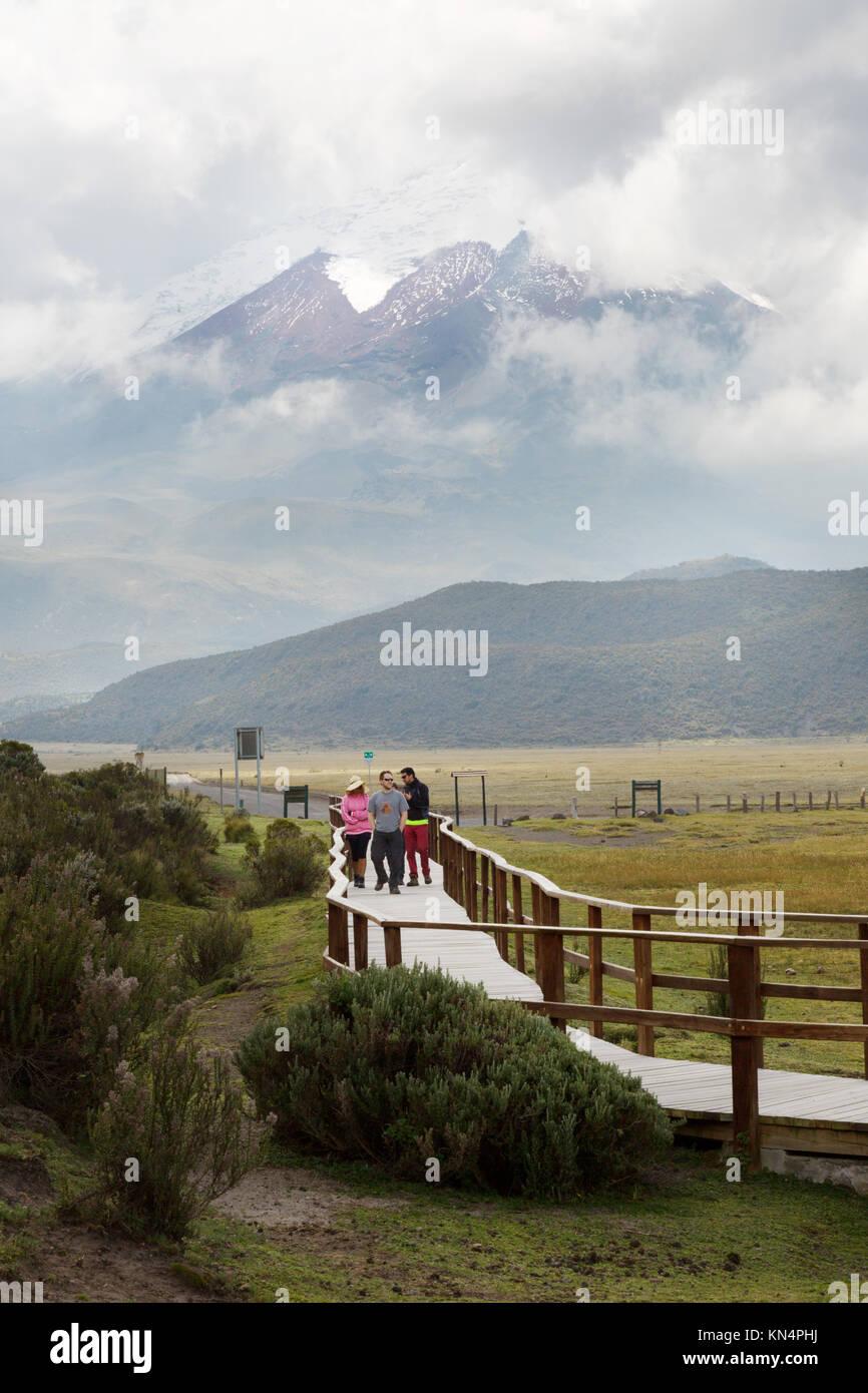 Parco Nazionale di Cotopaxi, Ecuador - la gente camminare nel parco, Ecuador, Sud America Immagini Stock