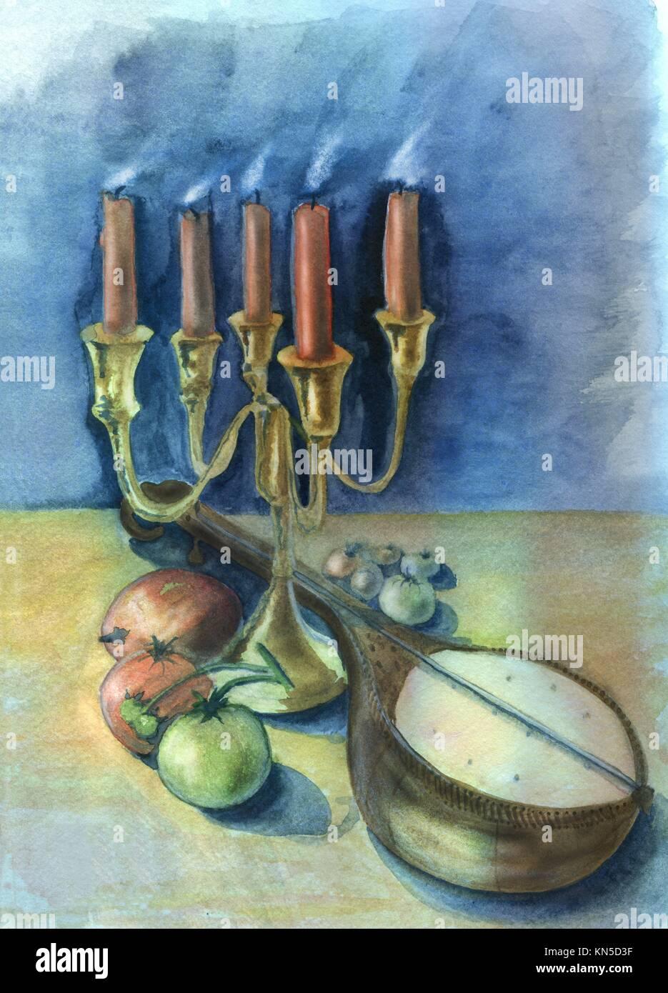 Candele e il mandolino. Acquerello originale e gouache pittura. Immagini Stock