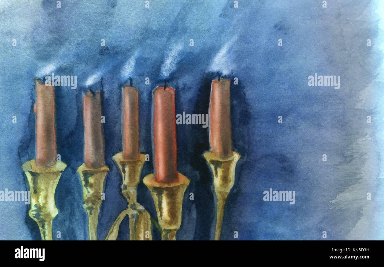 Soffiato fuori le candele, closeup. Acquerello originale e gouache pittura. Immagini Stock